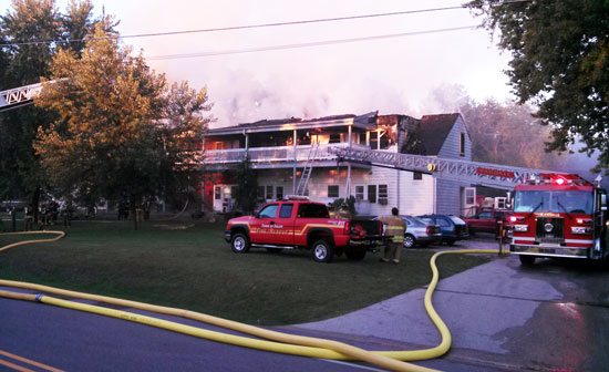 Barb Swartz submitted this photo that her husband, Roy, took at the scene. It look slike it must have been a little earlier than I was there because there was a lot more smoke in this photo and even some flame if you look right in the center of the roof.