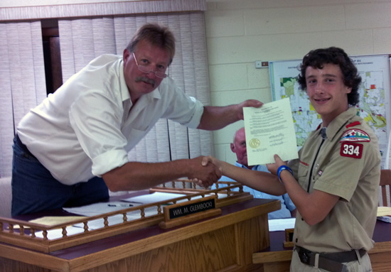 Wheatland town Chairman Bill Glembocki (left) presents Gerald Ehr with a resolution in honor of his Eagle Scout service project. /Submitted photo