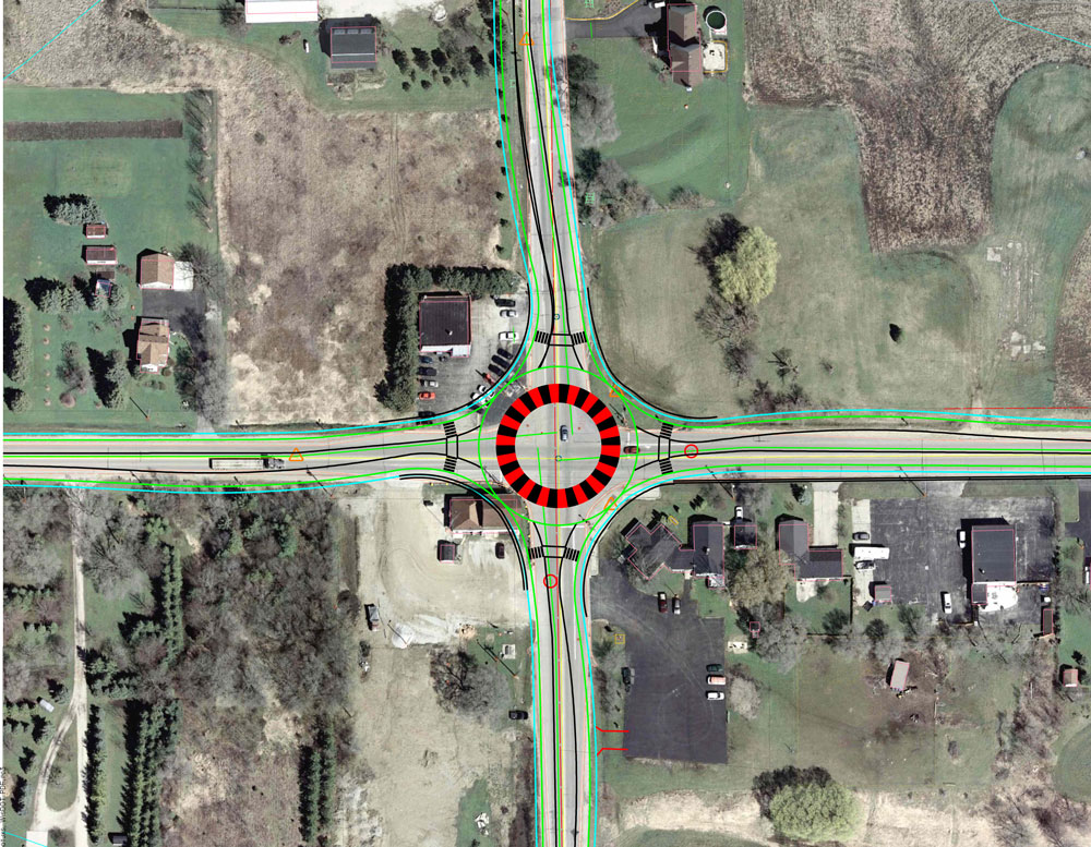 A section of a WisDOT conceptual plan for a roundabout at Highways 45 and 142 in Paris. (Note: Thanks to Van Wangaard for supplying his copy of this document. -- DH)