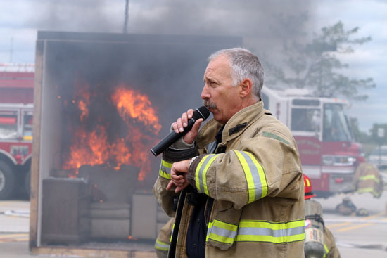 Jim Coppelman of Town of Salem Fire/Rescue narrates the burn room demonstration. /Earlene Frederick photo