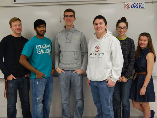 Team members include (from left): Garrison Asma, Siddharth Patel, Trevor Foster, Eddie Korando, Savannah Floore and Jennifer Childers.  Not pictured are Alexander Hamilton and Miranda Page. The team is coached by Maggie Meeks-Bosanko. /Submitted photo