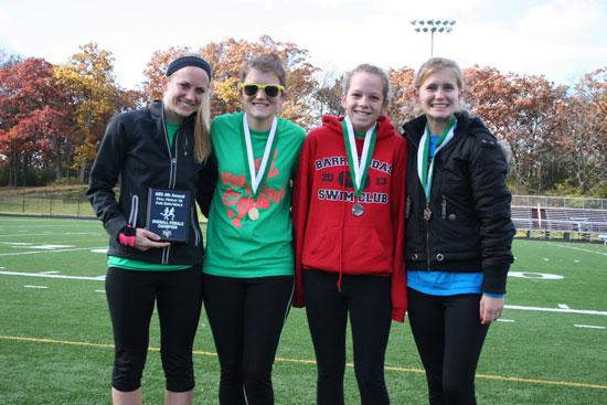 From left: Samantha Helgesen (overall women's winner,19:58); Erika Lamp (24:02); Emma Langely (24:31); Lacie Schroeder (25:09). /Nicolas Keller photo