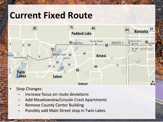 A map of the fixed route. /Courtesy of Western Kenosha County Transit.