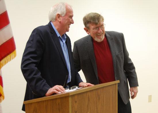 Paris town Supervisor Ron Kammerzelt (left) introduces town Chairman Virgil Gentz/