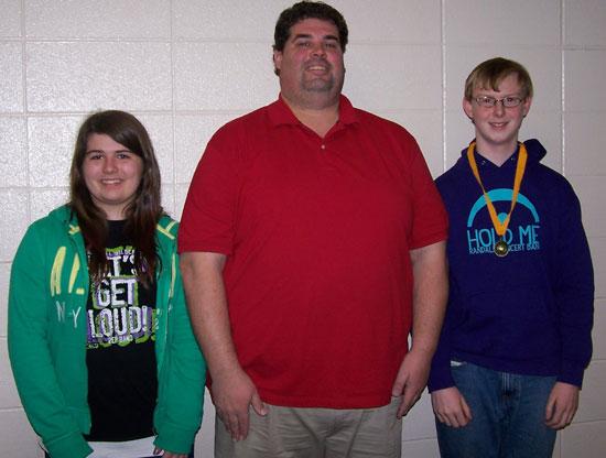 "(From left) Teagan Duffy, runner-up; Scott Bies, ""Bee Master""; Samuel Wank, school winner. /Contributed photo"