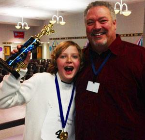 2014 Salem School spelling bee champion Nick Haerter and district administrator David Milz. /Contributed photo