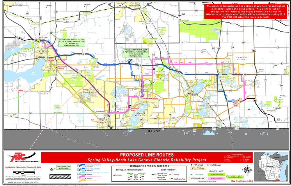 The two routes now under consideration by ATC for Spring Valley-North Lake Geneva Electric Reliability Project.