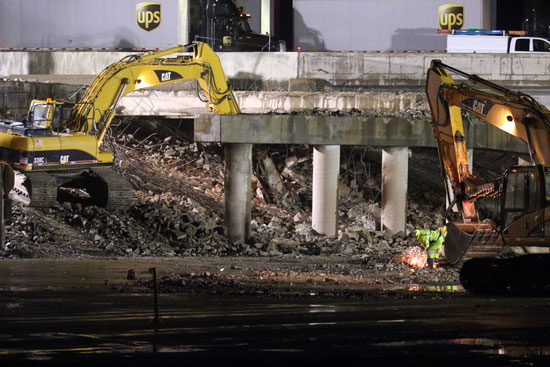 Demolition of the southbound lanes of I-94 at Highway 142 had reduced the lanes of traffic where the crash happened.  /Earlene Frederick photo