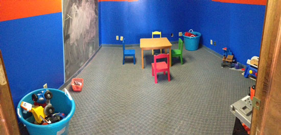 A view of the children's play area at Pete's Automotive.