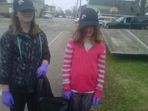 Cayce Morrison and Eva Buxton from Junior Girl Scout Troop 9137 helped with the clean-up. /Submitted photo