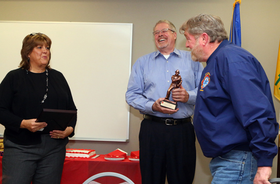 The fire department recognized him for his 36 years as a responder in Trevor, as a firefighter, Battalion Chief and Chief. He joined the department in 1979 and officially retired