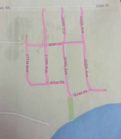 The Timberline neighborhood routes.