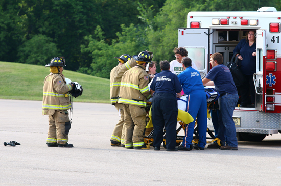 Patient is transferred to Flight For Life crew.