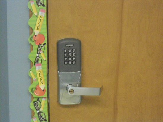 """This is a new classroom door locking system that can automatically be locked with the touch of a button should a """"lock down"""" situation occur. /Contributed photo"""