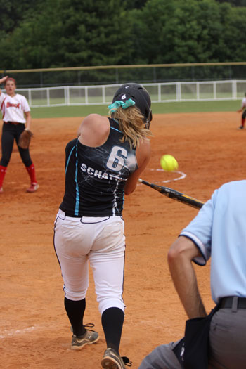 Justine Schattner's (Wilmot Union HS) solo home run in 4th inning vs. Snohomish Shock of Washington State in Montgomery, AL on Thursday.