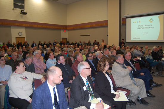 Part of the audience at Thursday's public hearing on the Somers-Paris intergovernmental agreement. This people were inside the hearing room at the Kenosha County Center in Bristol. Other seating was provided outside the room with audio fed in.