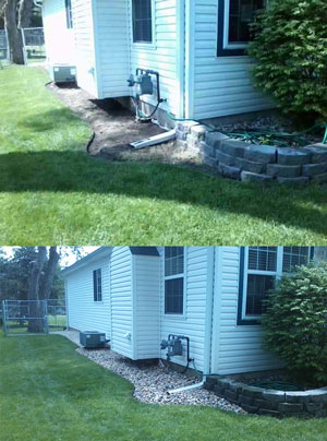 Get ready for spring rain by ensuring proper drainage around your home. Decorative stone is also a good alternative to mulch for white homes that can get stained from the dye.