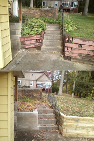 Before and after retaining wall work.