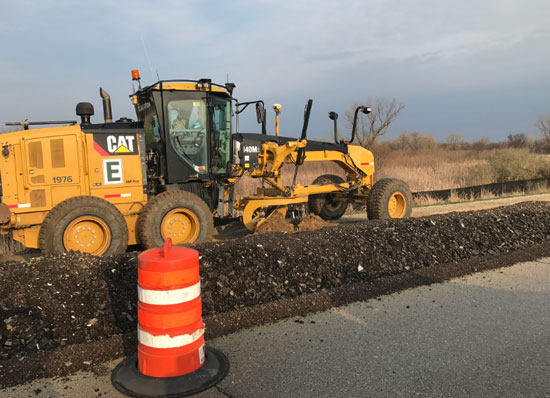 Shoulder grading operations between County C and 86th Street. /WisDOT photo